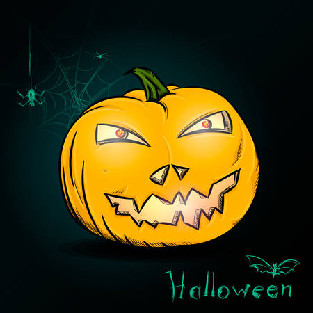 cobwebs: Halloween pumpkin with cobwebs and a bat on dark green background. Painted Halloween pumpkin with stroke in vector