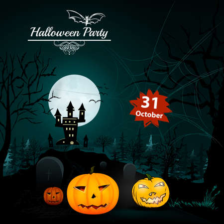 jack pot: Halloween Party in vector. Pumpkin near forest and castle Illustration