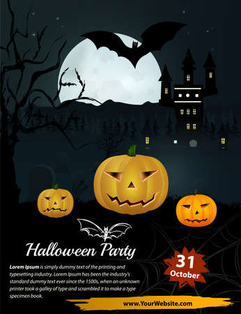 jack pot: Halloween Party in vector. Pumpkin near forest and castle Vectores