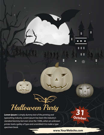 jack pot: Halloween Party in vector. Pumpkin near forest and castle on the dark grey background. Black and white cover