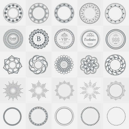swirl backgrounds: Set fractal and swirl shape element. Vintage monochrome different objects. Vector decorative sample. Diaphragm, border, outline black color in white background