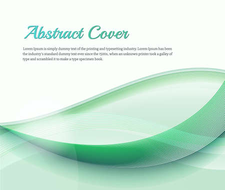 catalog background: Clean background with light green gradient and blend. Business style or technology clean design. Modern vector backdrop with green gradient and wave. Template cover or page. Nature lines Illustration