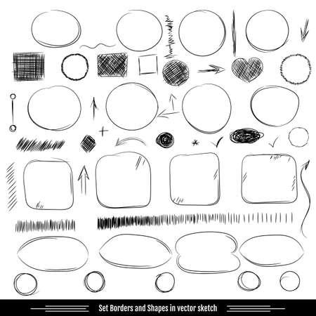 dibujo: Fronteras y formas SET. Dibujos a lápiz. Garabato dibujado a mano da forma a un conjunto de dibujos de líneas garabato. Elementos de diseño vectorial
