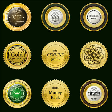 onlineshop: Collection gold labels for promo seals. Can be use for website, online-shop, design certificate. Quality stickers round with stone. Vector retro objects