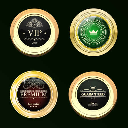 gold brown: Glossy and gold labels . Colored stones set in gold. Brown stones with different shades. Vector labels with text on black background Illustration