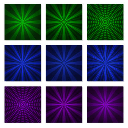 Abstract starburst green blue and purple background. Radial lines in set. Vector cool background for holiday Illustration