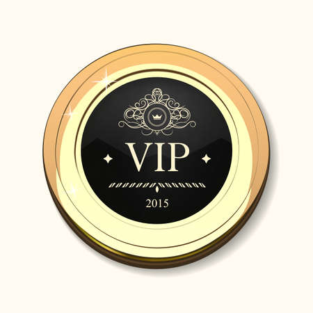 Glossy and gold label. Black stone in gold. Stone with different shades. Vector label with Vip text on dark white background