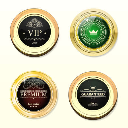 gold brown: Glossy and gold labels . Colored stones set in gold. Brown and green stone with different shades. Vector labels with text on white background