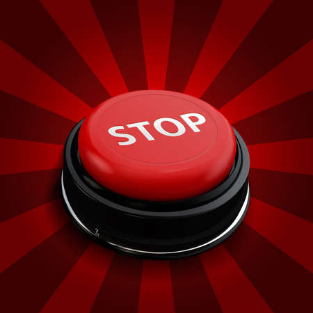 shiny button: Red button stop. Vector  isolate technology button with reflect. Red alarm chrome shiny button on red background. Can use for business.