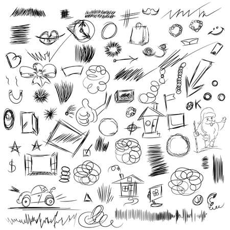 Pencil sketches.Hand drawn scribble shapes, santa claus, package and other things. A set of doodle line drawings. Vector design elements