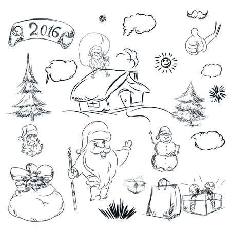 line drawings: Pencil sketch for christmas with christmas tree and house. Hand drawn scribble shapes, santa claus, package, gift and other things. A set of doodle line drawings. Vector new year design elements