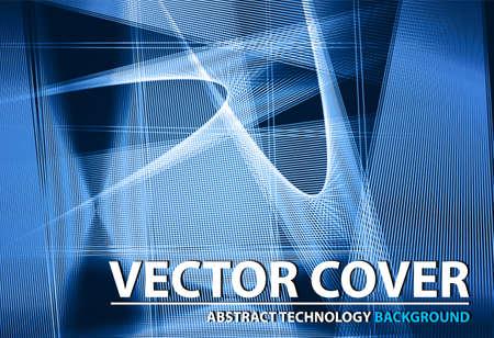 Abstract technology contour shapes. Financial business presentation. Light futuristic concept, digital light and dark  blue. Vector modern background