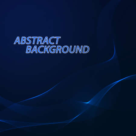 dark blue background: Abstract colorful wave background. Technology style with blend. Moving Colorful Lines on the dark blue Background for Poster, Flyer, Cover, Presentation. Vector Rainbow Lines.