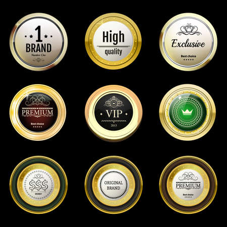 gold brown: Glossy and gold vintage labels . Colored stones set in gold. Brown stones with different shades. Vector labels with text on black background