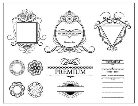 warrant: Vintage set decor elements for menu. Elegance old hand drawing set. Sketch ornate swirl leaves, label, acanthus elements, shield and decor elements in raster. Sketch for writer, wedding or restaurant. Stock Photo