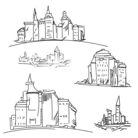 industrial complex: Set buildings citys. Sketch houses and building. Minimalism contours in raster. Black and white