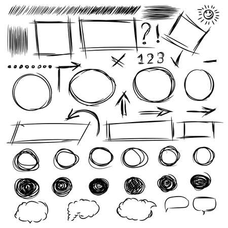 line drawings: Pencil sketches.Hand drawn scribble shapes A set of doodle line drawings. Raster design elements Stock Photo