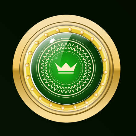 webshop: Guaranteed gold label.Gold button with green stone and gold border. Raster label with  crown.