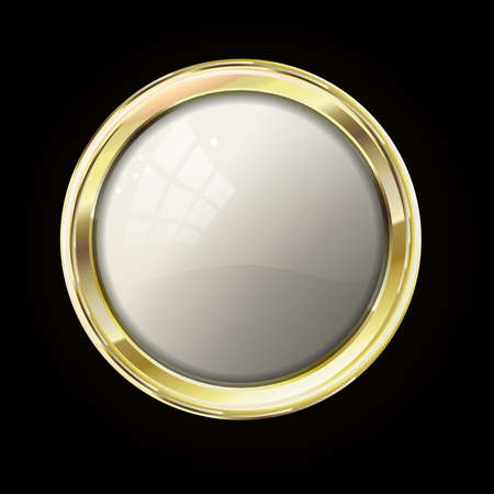 reliability: Vip gold label or button. Reliability and comfort. White glossy stone  in gold with reflection and shine. Raster label for text on black background