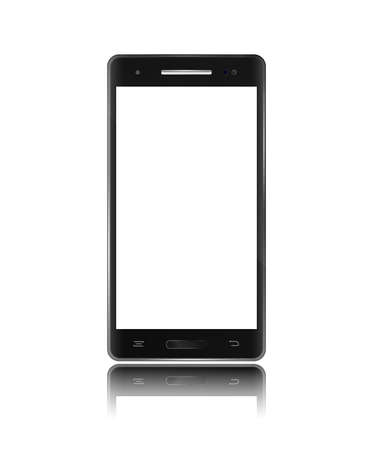 touch screen phone: Modern black smartphone with touch screen on white background. Isolated mobile phone in vector like template. Illustration