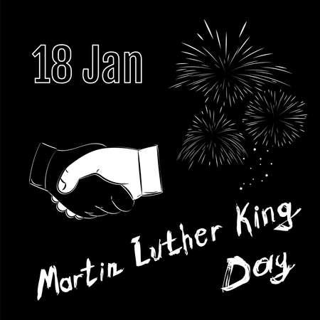 jr: Martin Luther King Day on black background. Handshake with fireworks and text in vector. Illustration