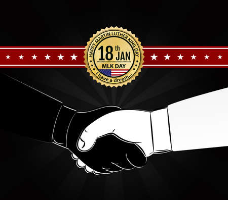 jr: Handshake on dark background with gold emblem for day of Martin Luther King. Martin Luther King day  design in vector Illustration