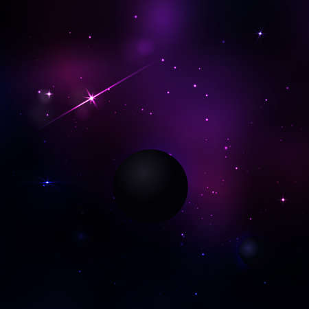 fantasy alien: Dark purple and blue space with many stars and light. Vector magic background with light
