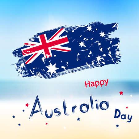 red grunge background: Australia day with grange flag on blur background.