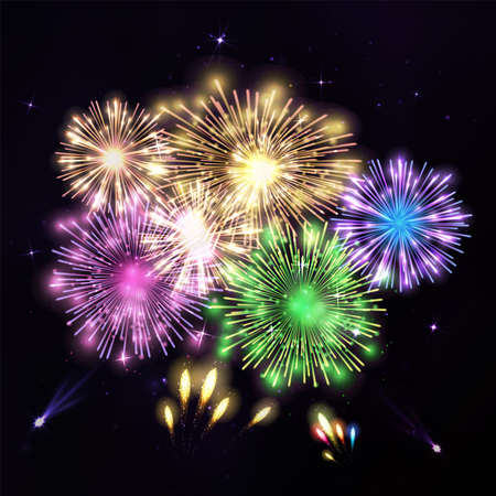 fire works: Colorful fireworks on black background.