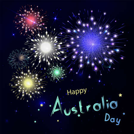 salut: Happy Australia day with fireworks on black background. Happy holiday design in vector. Dark sky with stars and salut