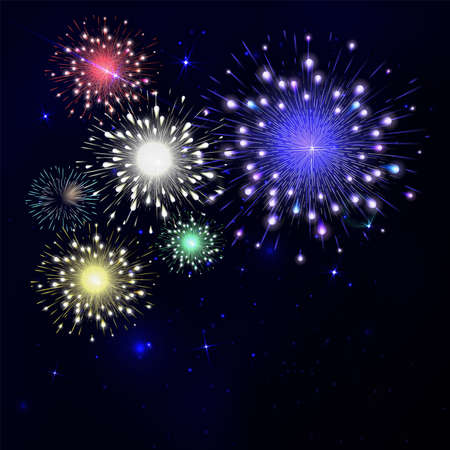 fire works: Colorful fireworks on black background. Night sky with stars and salute for festival in vector. Blue, green, yellow and red fireworks and explosion.