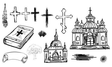 black and white line drawing: Hand drawn religion set in Church, cross and bible in sketch