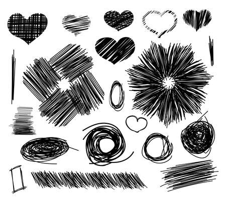 line drawings: Pencil sketches. Hand drawn scribble shapes and heart. A set of doodle line drawings. Vector design elements Illustration