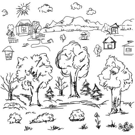 Elements of landscape in outline. Doodle sketch outdoor elements. Tree, grass, nature, bushes, leaves, flowers, houses pencil drawing in vector Vector Illustration