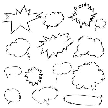 line drawings: Set doodle shapes for message. Pencil sketches. Hand drawn scribble shapes and star. A set of doodle line drawings. Vector design elements