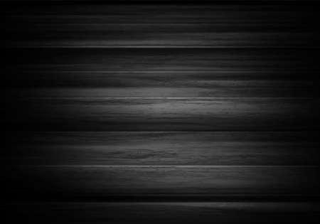 Legno sfondo orizzontale nel vettore. Sfondo nero con albero di texture. Vintage scrivania grigio scuro o il pannello.