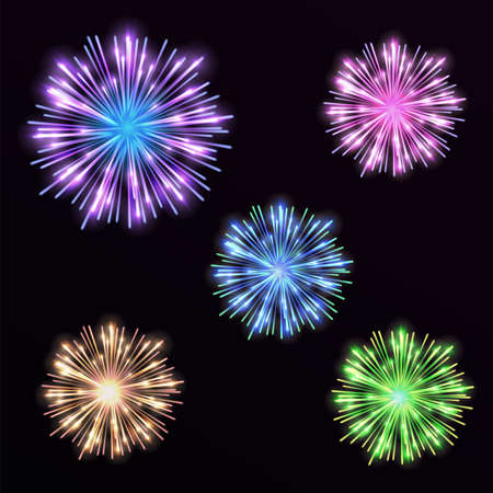 white work: Colorful set firework on black background. Night sky with salute for festival in vector. Blue, green, yellow and pink firework and explosion.