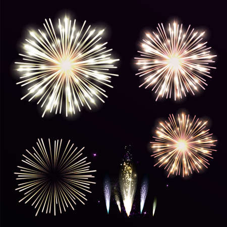 white work: Vector Set yellow firework on black background. Night sky with salute for festival in vector. Yellow and orange firework or explosion. Illustration