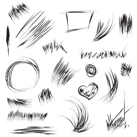 pensil: Hand drawn scribble and sketch shapes in vector. Abstract line and scribble for texture. Art pensil drawing with scratch