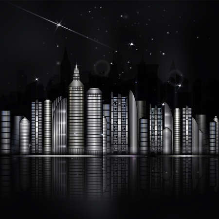 scape: Night black and white city in vector. Town with skyscraper, river, light and reflection. Dark sky with stars and light