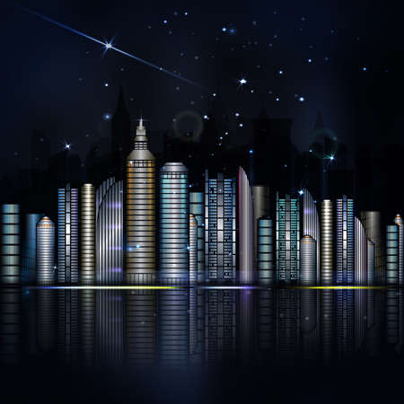 skyscraper sky: Night colorful city in vector. Town with skyscraper, river, light and reflection. Dark blue sky with stars and light. City of the future