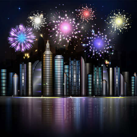 skyscraper sky: Firework over night city with reflection in river. Vector town with colorful skyscraper, river, light and reflection. Dark blue sky with stars and light.