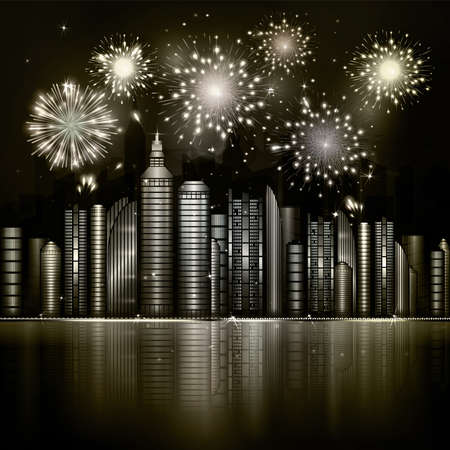 skyscraper sky: Firework over night city with reflection in river. Vector town with yellow and gold skyscraper, river, light and reflection. Dark blue sky with stars and light. Monochrome background Illustration