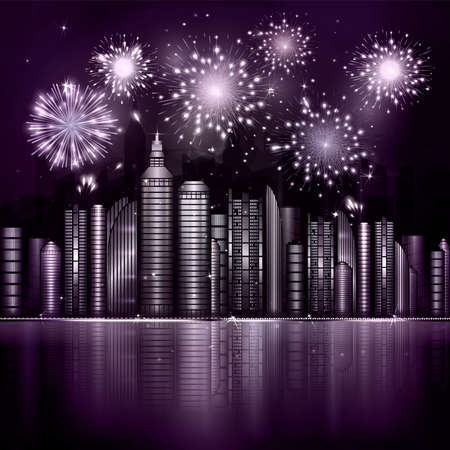 river vector: Firework over night city with reflection in river. Vector town with violet skyscraper, river, light and reflection. Dark blue sky with stars and light. Monochrome purple background Illustration