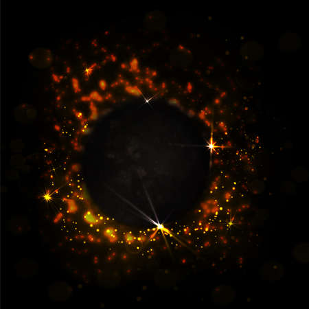 black hole: Abstract dark red background with fire and sparks. Power vector illustration with shine, stars and bokeh. Dark red space with black hole
