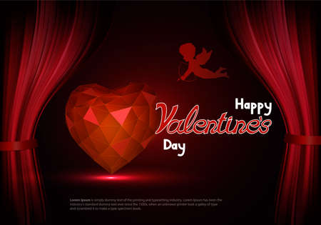 behind the scenes: Happy Valentines Day with a heart and cupid behind the scenes. Font design. Vector composition for holiday Illustration