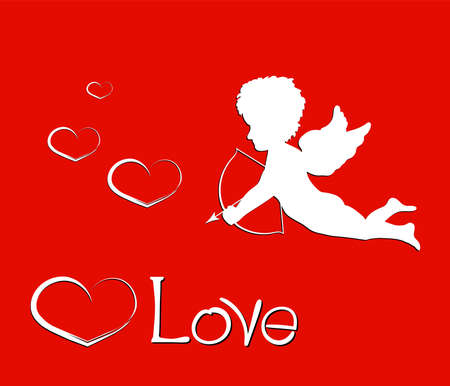 eros: Happy valentines day. Lettering composition with love, cupid and heart on red background. Vector holiday  poster