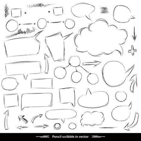 line drawings: Pencil sketches. Hand drawn scribble shapes. A set of doodle line drawings. Vector design elements Illustration