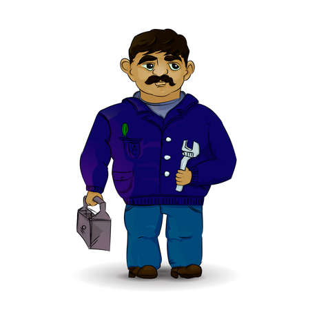 Master plumber in vector. Foreman in white background