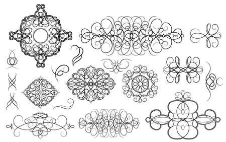 decorative line: Set vintage borders, frame and rosette. Decoration for logo, wedding album or restaurant menu. Ornate swirl leaves, label, curved lines and decor elements in vector.